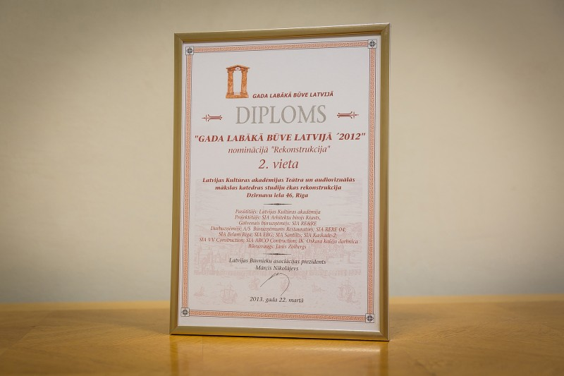 "AS ""Būvuzņēmums Restaurators"" received recognition in the competition ""Best Building in Latvia 2012"" in the category ""Reconstruction"" (2nd place) on 22 March 2013. This award was granted for reconstruction of the Theatre and Audiovisual Studies Department building of Latvian Academy of Culture located in Riga, 46 Dzirnavu Street. The works were carried out in 2012."