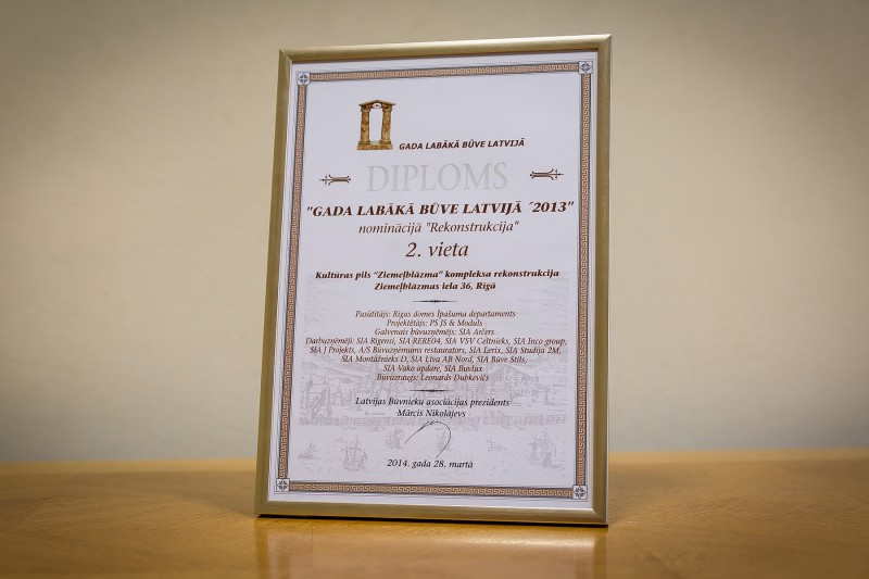 "AS ""Būvuzņēmums Restaurators"" received recognition in the nationwide competition ""Best Building in Latvia 2013"" in the category ""Reconstruction"" (2nd place) on 28 March 2014. This award was granted for reconstruction works carried out in 2013 in the complex of Palace of Culture ""Ziemeļblāzma"" located in Riga, 36 Ziemelblazmas Street."