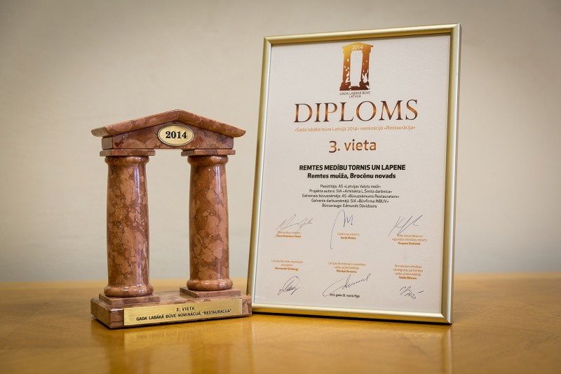 "AS ""Būvuzņēmums Restaurators"" received recognition in the nationwide competition ""Best Building in Latvia 2014"" in the category ""Restoration"" (3rd place) on 26 March 2015. This award was granted for renewal of Remtes hunting tower and arbor located in Brocenu district, in Remtes park which is managed by VAS ""Latvijas valsts meži"" (state joint-stock company ""Forests of Latvia""). The works were carried out in 2014."