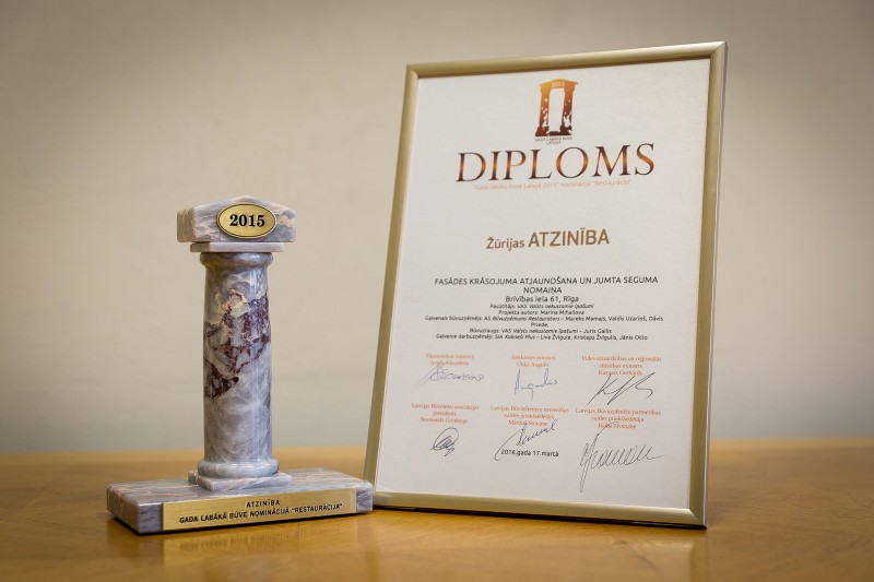 "AS ""Būvuzņēmums Restaurators"" received recognition in the nationwide competition ""Best Building in Latvia 2015"" in the category ""Restoration"" on 17 March 2016. This award was granted for restoration of the historical facade of the Teter's House (former ""Corner House"") located in Riga, 61 Brivibas Street, cerried out at the end of 2015."