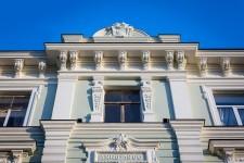 "Facade of the building in Riga, 36a Skolas Street, after restoration (2017). Works performed by AS ""Būvuzņēmums Restaurators""."