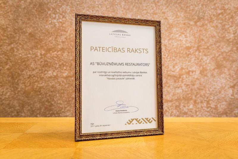 Latvijas Bankas pateicības raksts